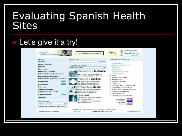 Evaluating Spanish Health Sites