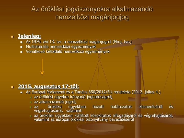 Az öröklési jogviszonyokra alkalmazandó