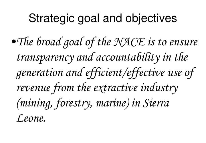 Strategic goal and objectives