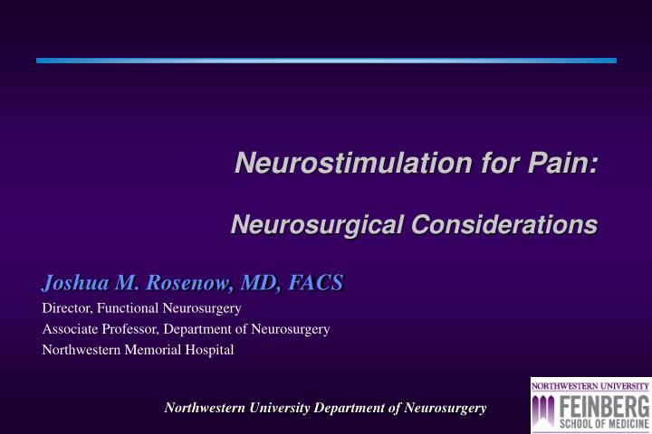 neurostimulation for pain neurosurgical considerations n.