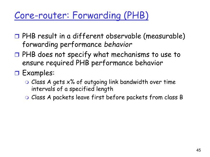 Core-router: Forwarding (PHB)