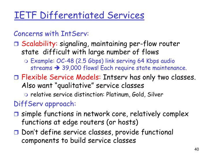 IETF Differentiated Services