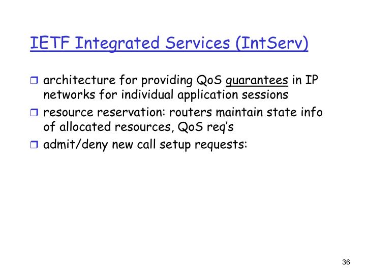 IETF Integrated Services (IntServ)