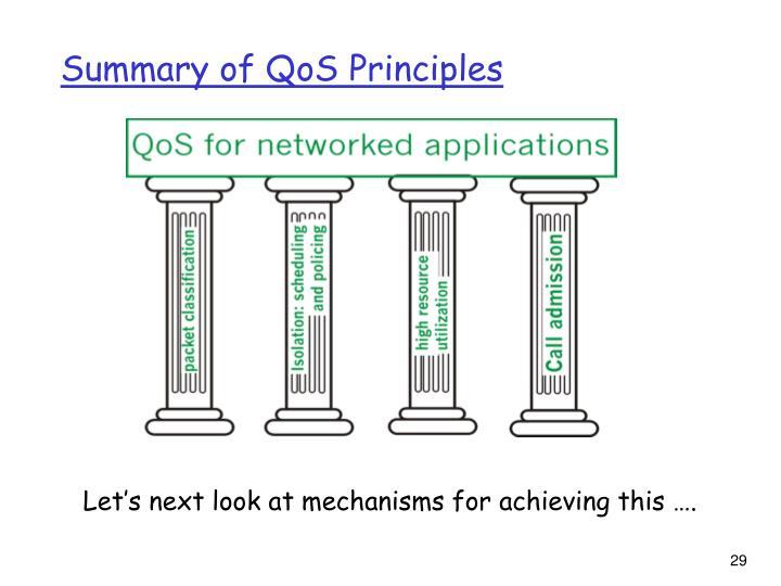 Summary of QoS Principles