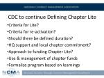 cdc to continue defining chapter lite