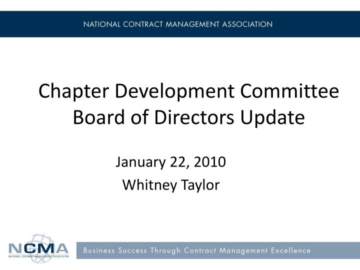chapter development committee board of directors update n.