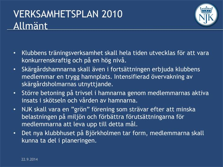 Verksamhetsplan 2010 allm nt