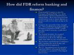 how did fdr reform banking and finance