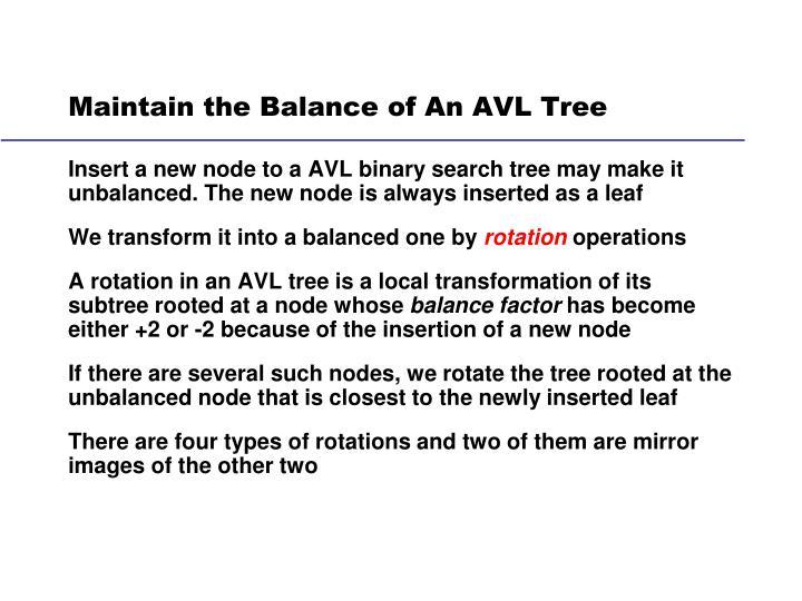 Maintain the Balance of An AVL Tree