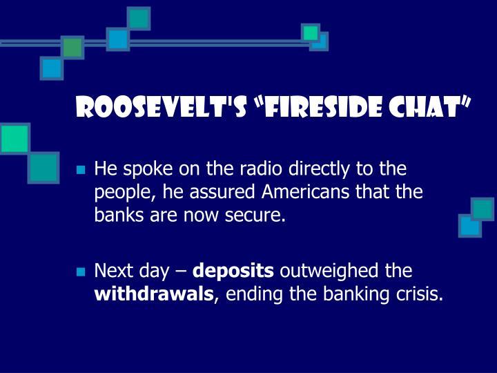 """Roosevelt's """"fireside chat"""""""