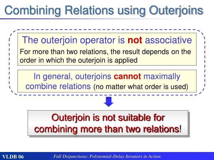 Combining Relations using Outerjoins
