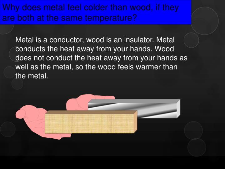 Why does metal feel colder than wood, if they are both at the same temperature?