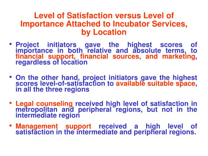 Level of Satisfaction versus Level of     Importance Attached to Incubator Services,   by Location