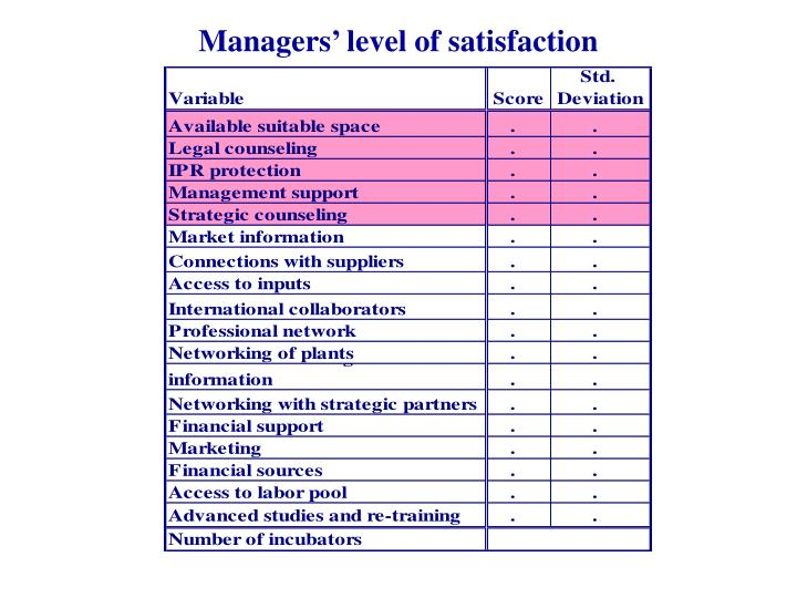 Managers' level of satisfaction