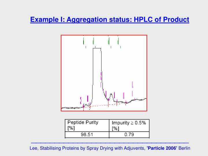 Example I: Aggregation status: HPLC of Product