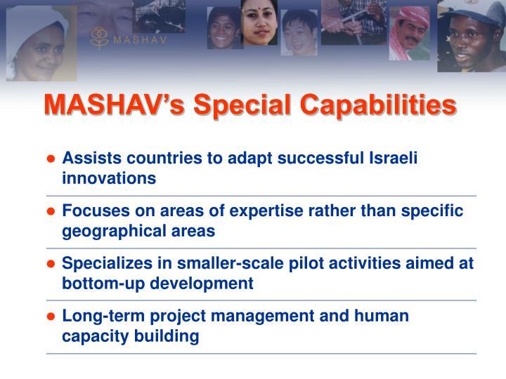 Assists countries to adapt successful Israeli innovations