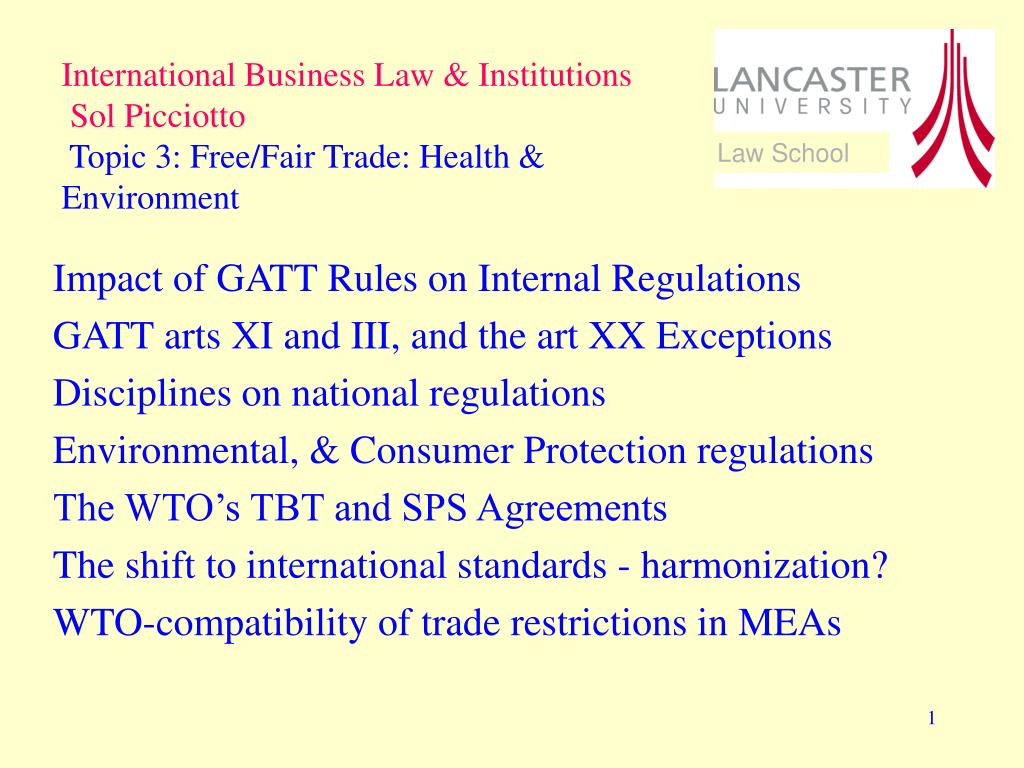 Ppt Impact Of Gatt Rules On Internal Regulations Gatt Arts Xi And