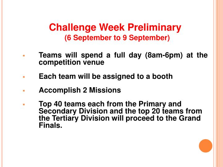 Challenge Week Preliminary