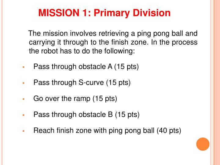 MISSION 1: Primary Division