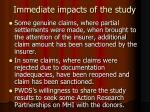 immediate impacts of the study