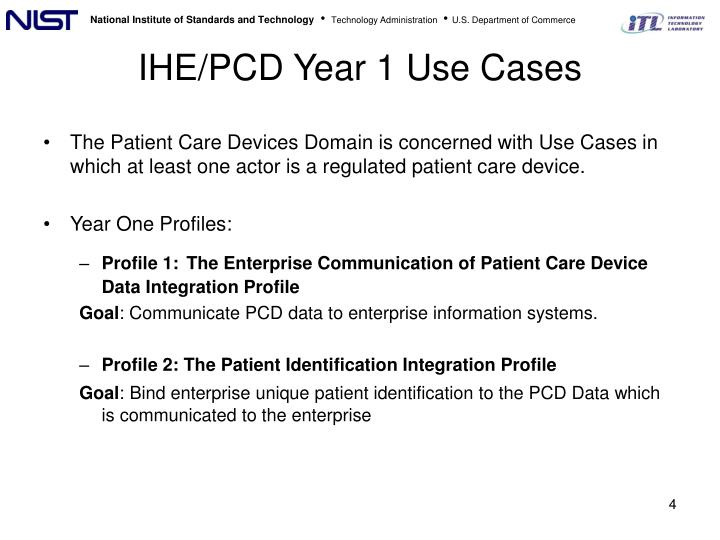 IHE/PCD Year 1 Use Cases