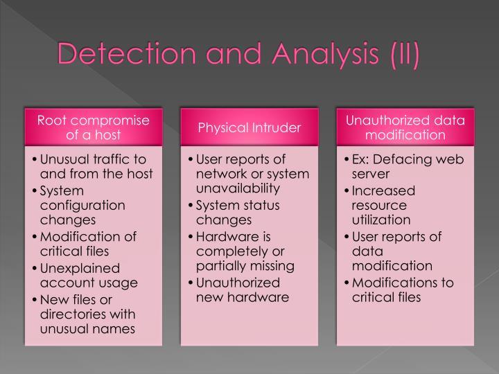 Detection and Analysis (II)