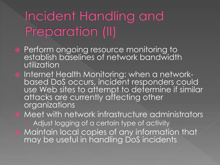 Incident Handling and Preparation (II)
