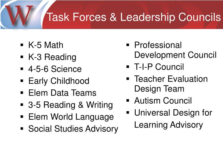 Task Forces & Leadership Councils