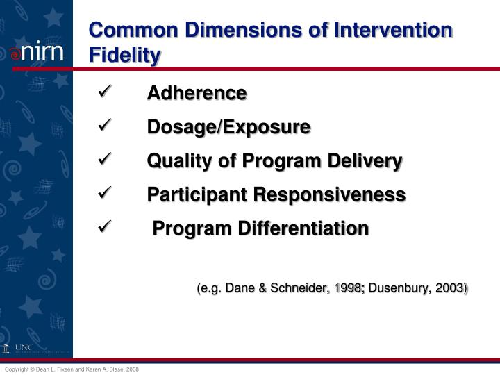Common Dimensions of Intervention Fidelity