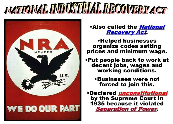 NATIONAL INDUSTRIAL RECOVERY ACT