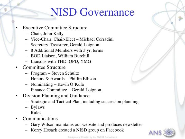 Nisd governance