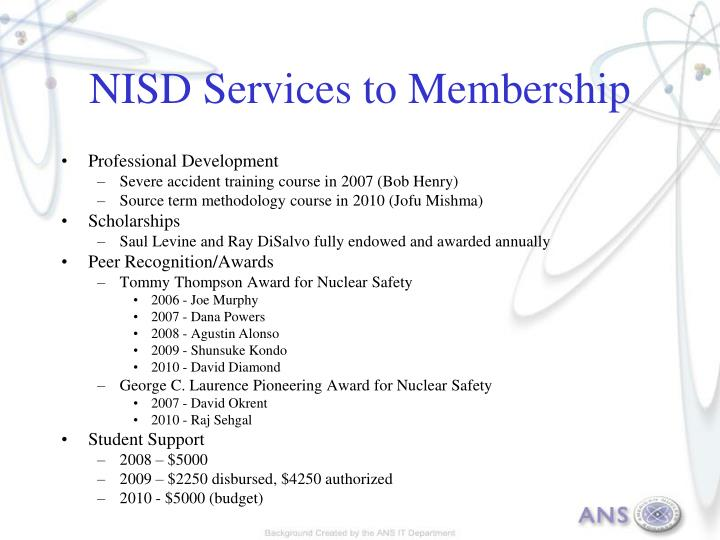NISD Services to Membership