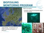 biofouling monitoring program