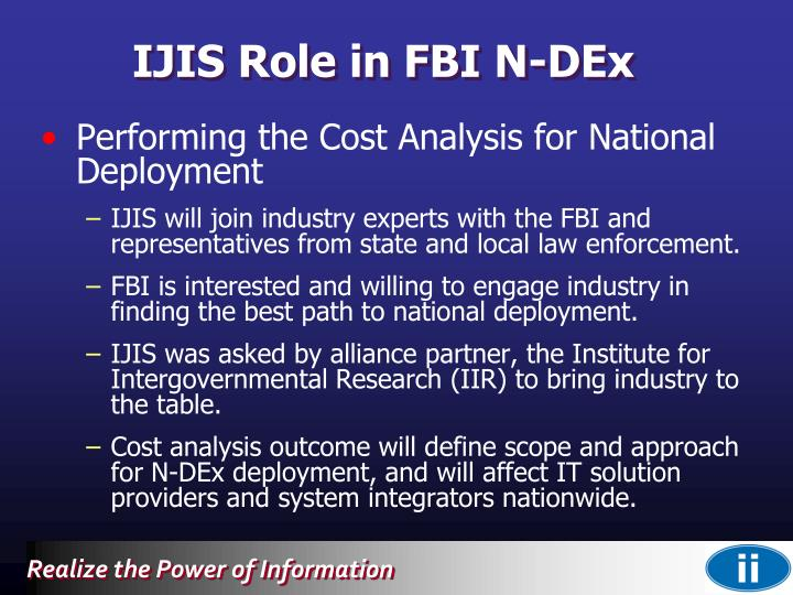 IJIS Role in FBI