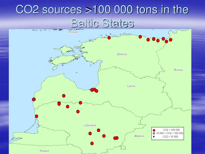 CO2 sources >100 000 tons in the Baltic States