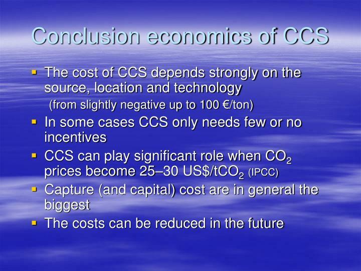 Conclusion economics of CCS
