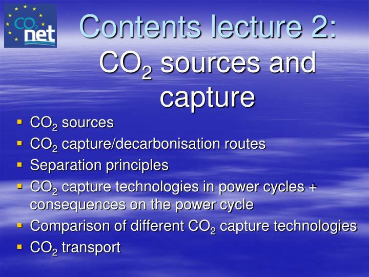 Contents lecture 2: