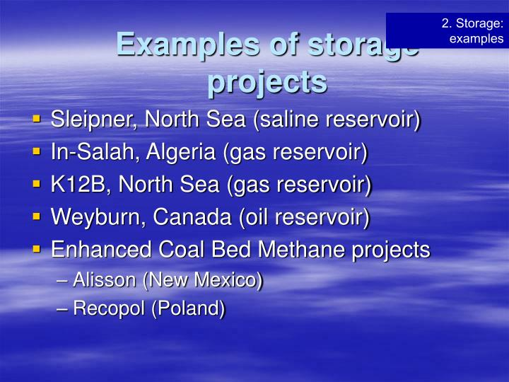 Examples of storage projects