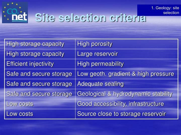 Site selection criteria