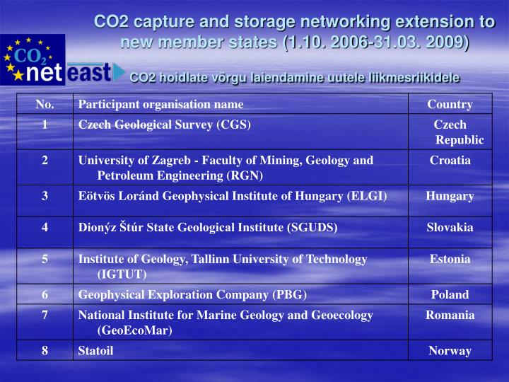CO2 capture and storage networking extension to new member states (1.10. 2006-31.03. 2009)