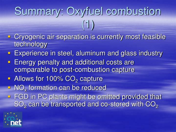 Summary: Oxyfuel combustion (1)