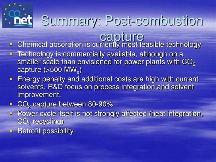 Summary: Post-combustion capture