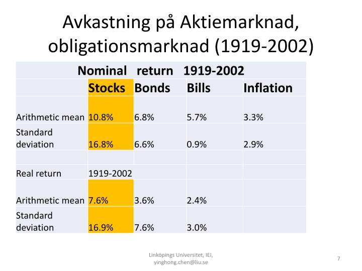 Avkastning på Aktiemarknad, obligationsmarknad (1919-2002)
