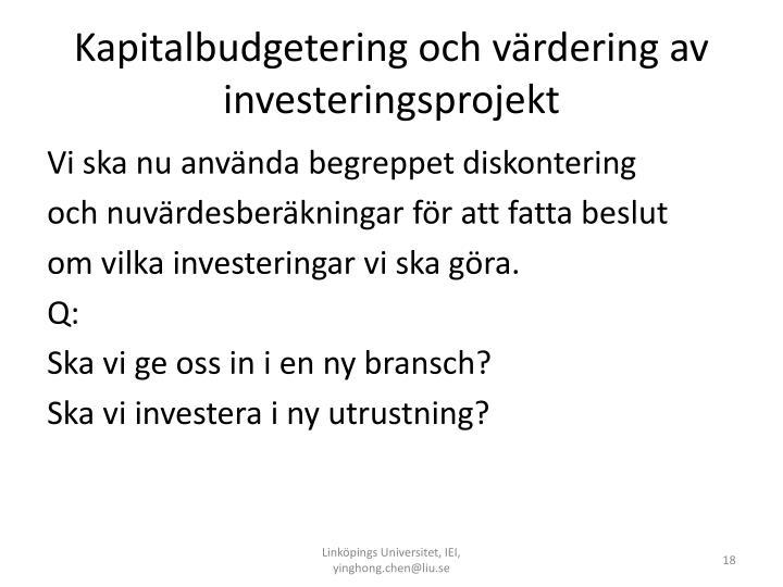 Kapitalbudgetering och