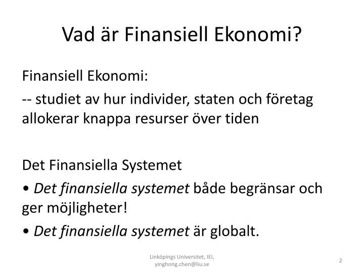 Vad r finansiell ekonomi