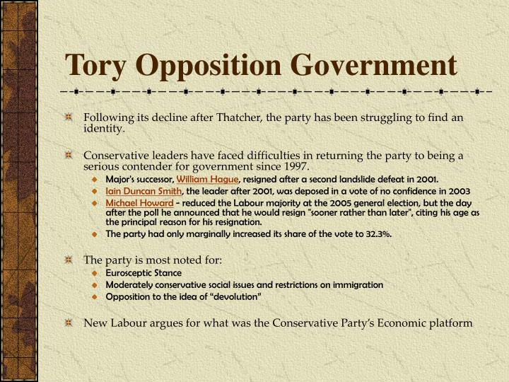 Tory Opposition Government