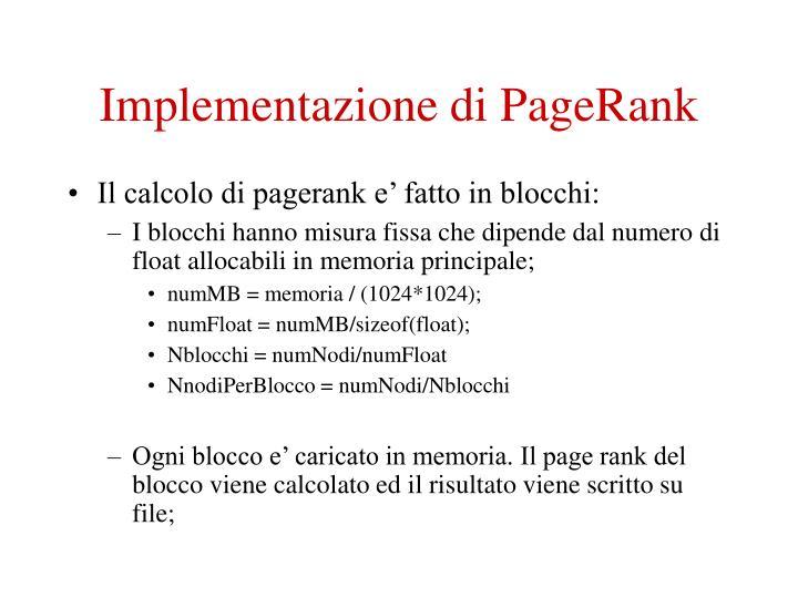 Implementazione di PageRank