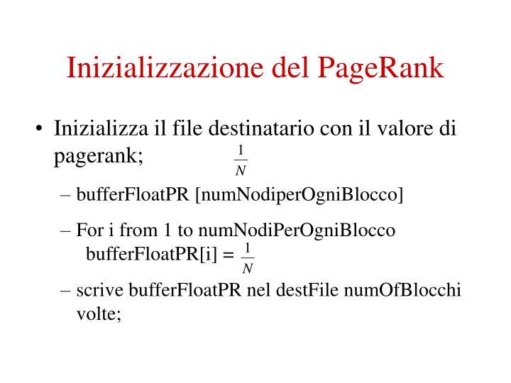 Inizializzazione del PageRank