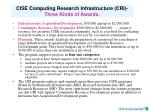 cise computing research infrastructure cri three kinds of awards