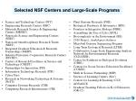 selected nsf centers and large scale programs